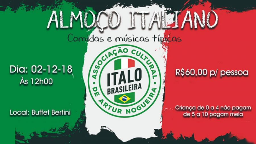 02.12 - Domingo | Almoço Italiano no Buffet Bertini